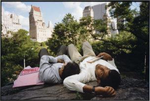 Werknemers Ram en Som van QSupport, tijdens hun eerste uitzending naar de VS. Central Park, New York City, USA, 2001