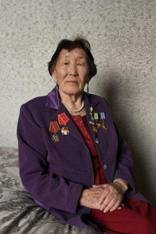 Efremova (in 1942 met familie gedeporteerd vanuit Tsjoeraptsja naar Laptev Zee), Tsjoeraptsja, Yakutsia, Siberië, Rusland, 2018